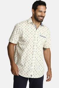 Jan Vanderstorm loose fit overhemd Plus Size Zesar met all over print ecru/blauw, Ecru/blauw