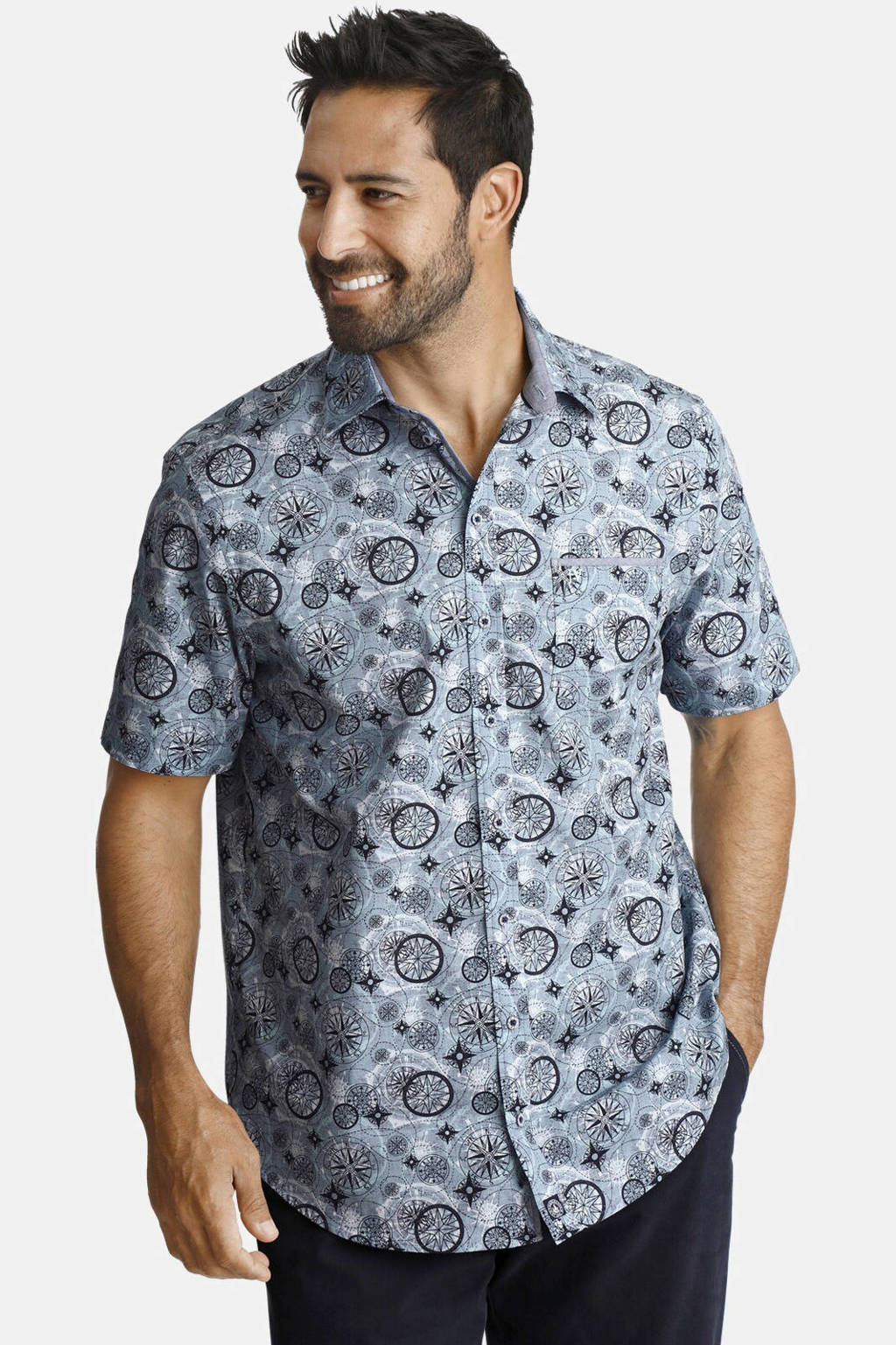 Jan Vanderstorm loose fit overhemd Plus Size met all over print blauw, Blauw