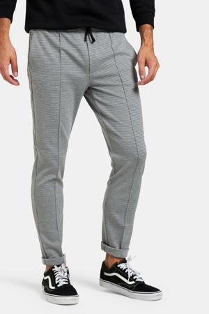 geruite slim fit pantalon lichtgrijs
