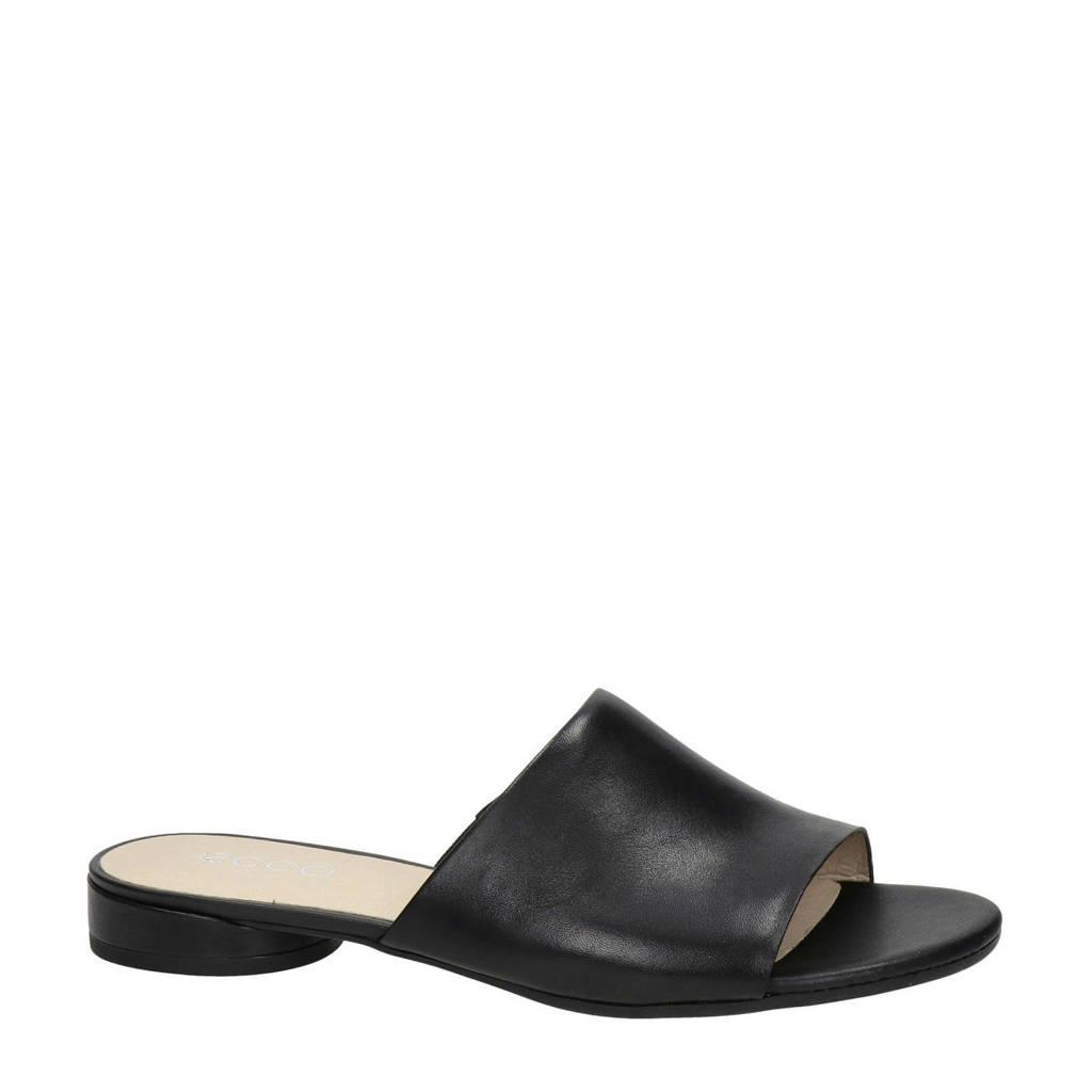 Ecco Flat  leren slippers zwart, Zwart