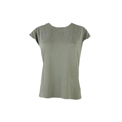 LOLALIZA T-shirt met glitters groen