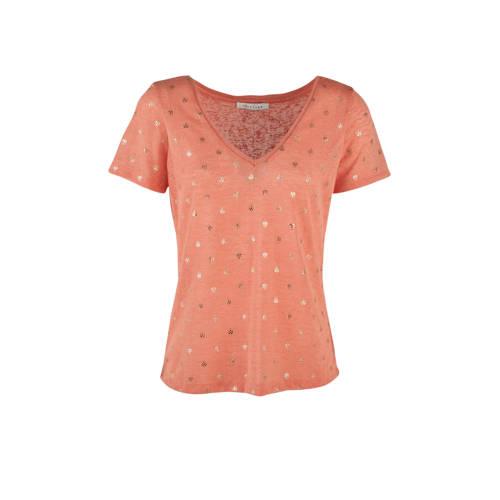 LOLALIZA T-shirt met grafische print koraal/goud