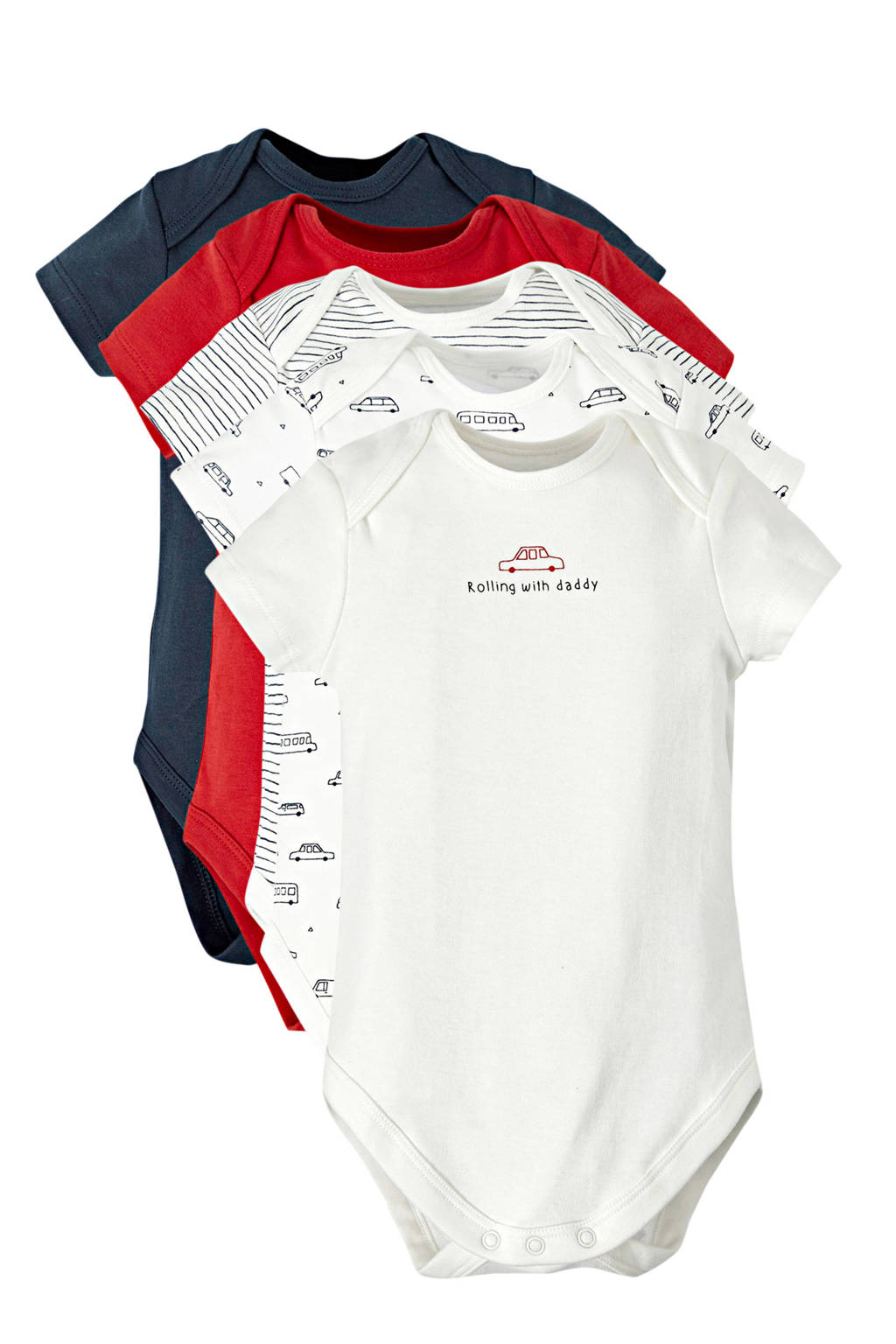 C&A Baby Club romper - set van 5 wit/rood/blauw, Wit/rood/blauw