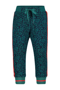 4PRESIDENT tapered fit broek Loes met zijstreep petrol/rood/donkerblauw, Petrol/rood/donkerblauw