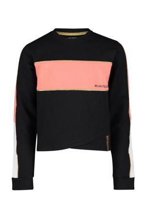 sweater Florence met glitters zwart/roze