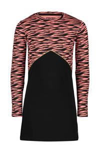 4PRESIDENT A-lijn jurk Felicity met all over print en glitters zwart/roze, Zwart/roze