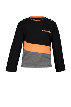 longsleeve Channing zwart/oranje/antraciet