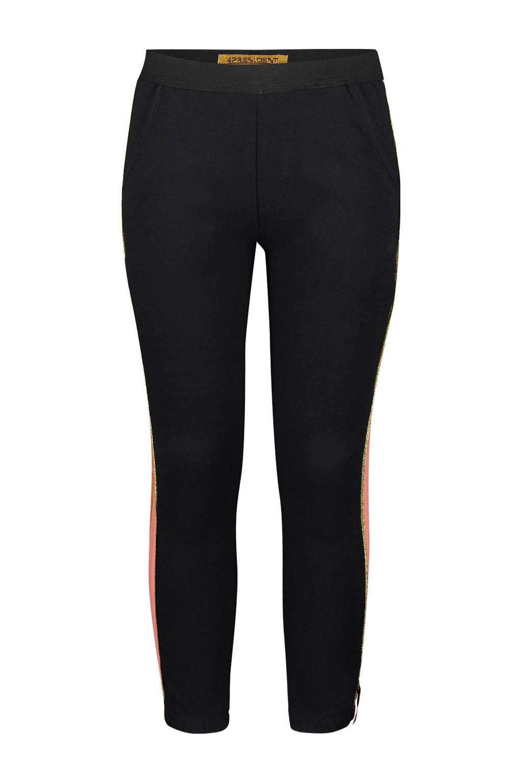 4PRESIDENT tapered fit broek Felice met zijstreep zwart/roze/wit, Zwart/roze/wit