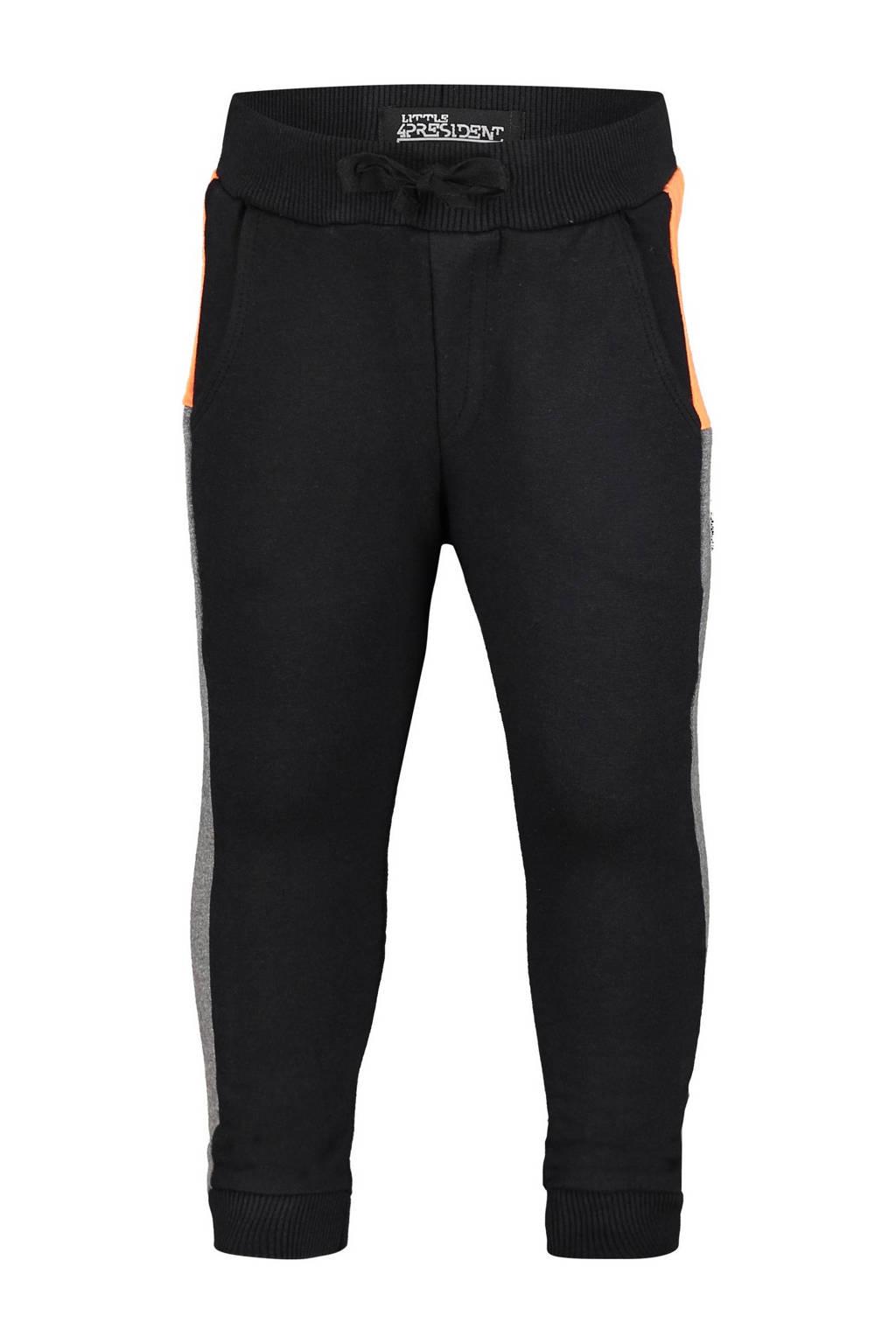 4PRESIDENT tapered fit broek Cabe met zijstreep zwart/oranje/antraciet, Zwart/oranje/antraciet