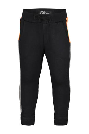tapered fit broek Cabe met zijstreep zwart/oranje/antraciet