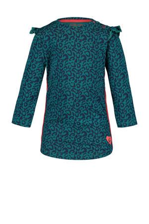 A-lijn jurk Lotte met contrastbies en ruches petrol/rood