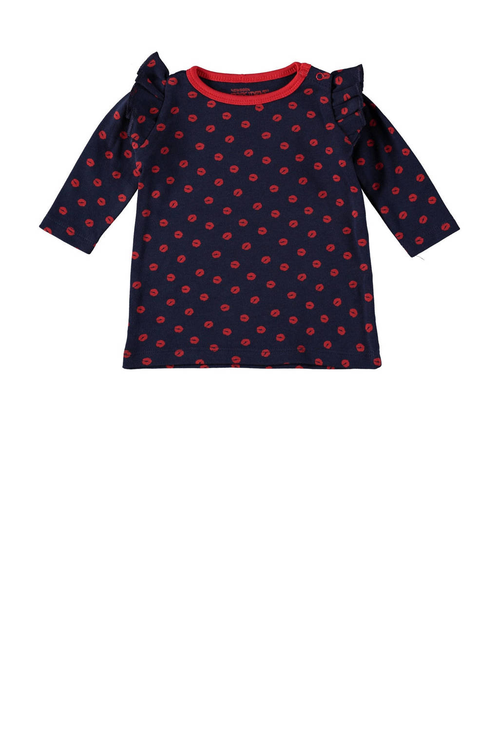 4PRESIDENT baby jurk Sloane met all over print en ruches donkerblauw/rood, Donkerblauw/rood