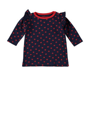 jurk Sloane met all over print en ruches donkerblauw/rood