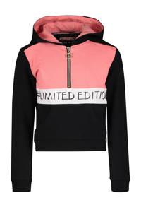 4PRESIDENT hoodie Fae met tekst zwart/roze/wit, Zwart/roze/wit