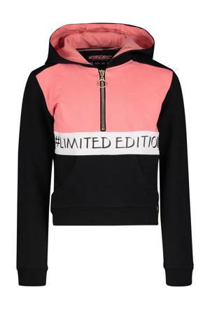 hoodie Fae met tekst zwart/roze/wit