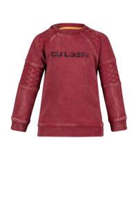 4PRESIDENT sweater Chance met tekst en textuur donkerrood/zwart, Donkerrood/zwart
