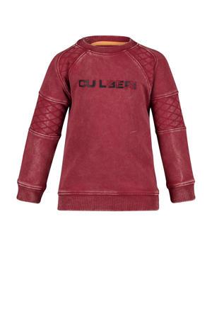 sweater Chance met tekst en textuur donkerrood/zwart