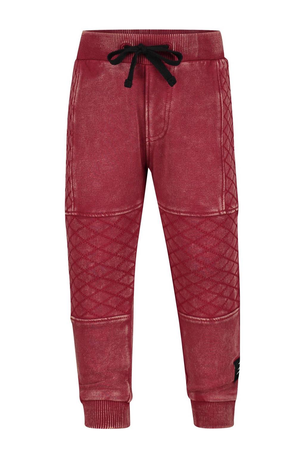 4PRESIDENT tapered fit broek Colin met textuur donkerrood, Donkerrood