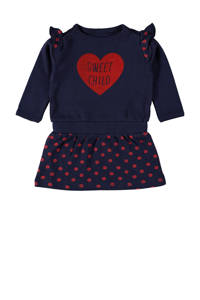 4PRESIDENT jurk Charli met printopdruk en ruches donkerblauw/rood, Donkerblauw/rood