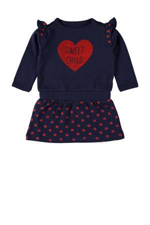 jurk Charli met printopdruk en ruches donkerblauw/rood