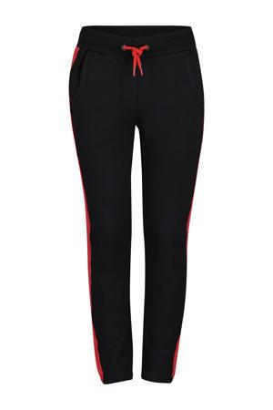 tapered fit broek Felix met zijstreep rood/zwart