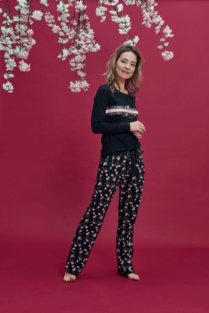 pyjamatop met printopdruk zwart