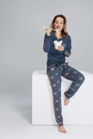 pyjamatop met printopdruk blauw