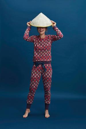 pyjamabroek met all over print brique/donkerblauw