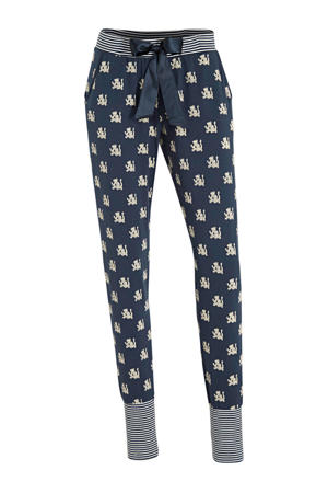 pyjamabroek met all over print donkerblauw/wit