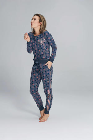 pyjamabroek met all over print blauw/roze