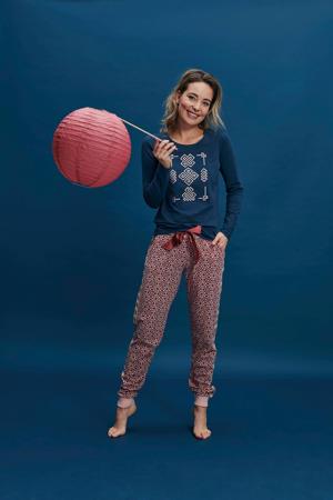 pyjamatop met printopdruk donkerblauw