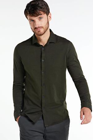slim fit overhemd met jacquard donkergroen