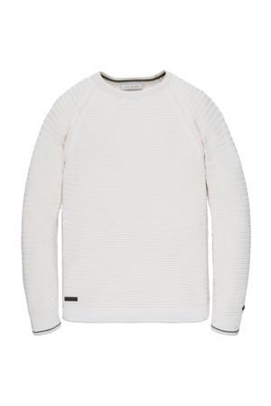 fijngebreide trui met textuur ecru