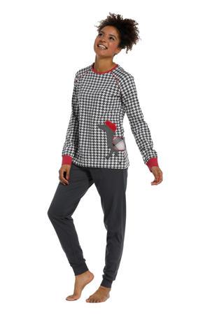 pyjama met all over print zwart/wit