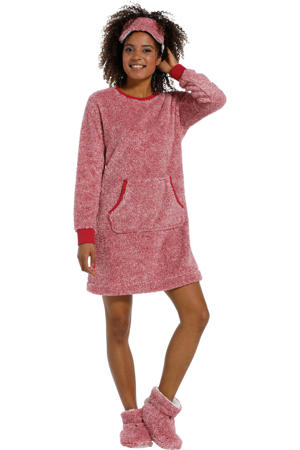 fleece loungejurk donkerrood