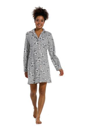 nachthemd met all over print grijs