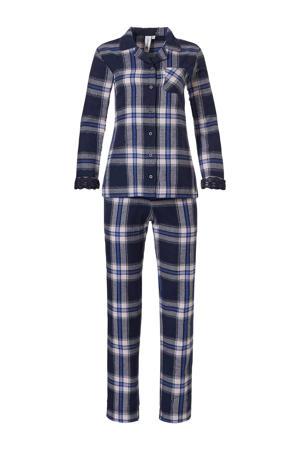 flanellen geruite pyjama donkerblauw/wit