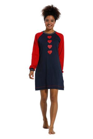 nachthemd met printopdruk donkerblauw/rood
