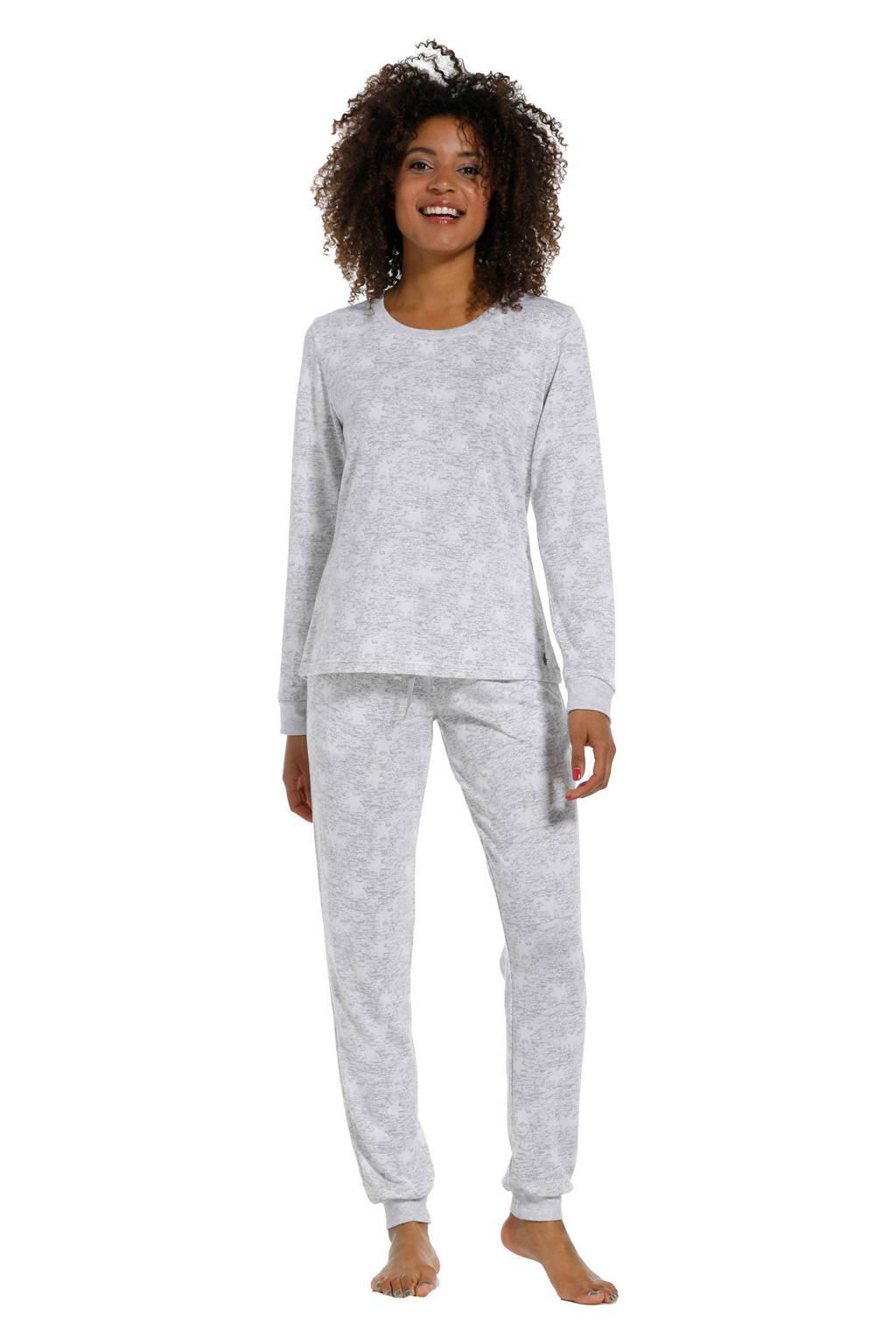 Rebelle pyjama met all over print grijs/ivoor, Grijs/ivoor