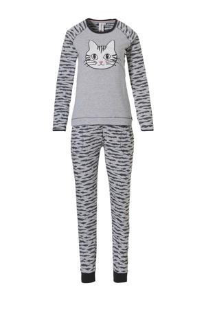 pyjama met all over print grijs