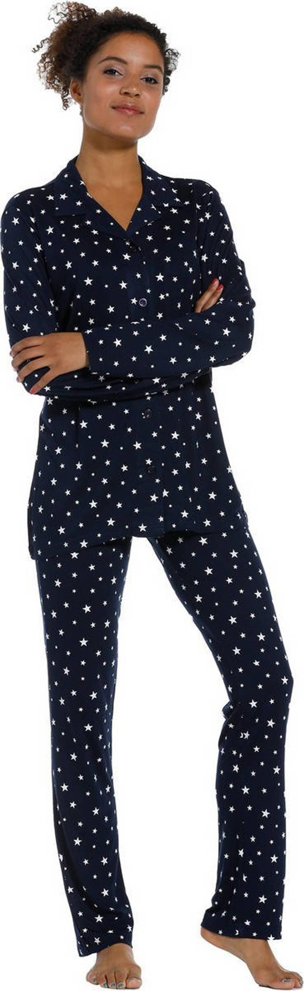 Rebelle pyjama met all over print donkerblauw, Donkerblauw