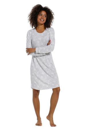 nachthemd met all over print grijs/ivoor