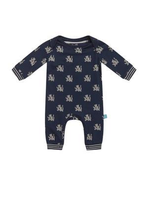baby boxpak met all over print donkerblauw/grijs