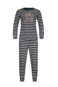 Charlie Choe gestreepte pyjama met tekst donkerblauw, Donkerblauw/offwhite