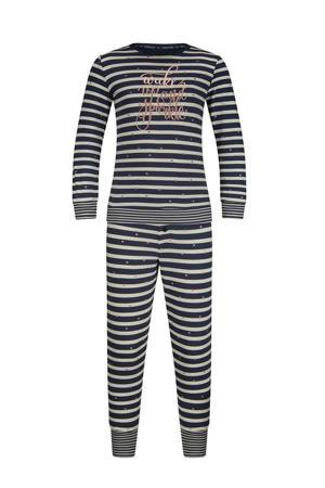 gestreepte pyjama met tekst donkerblauw
