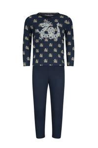 Charlie Choe   pyjama met all over print donkerblauw/ecru, Donkerblauw/ecru