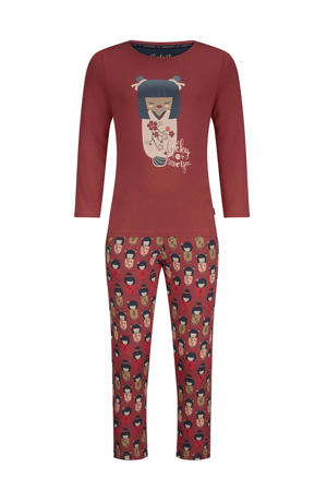 pyjama met all over print roodbruin/ecru