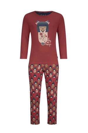 pyjama met all over print roodbruin/ecru