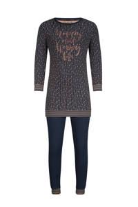 Charlie Choe pyjama met all over print donkerblauw/roze, Donkerblauw/roze
