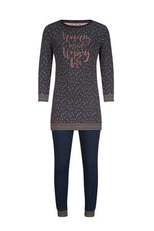 pyjama met all over print donkerblauw/roze